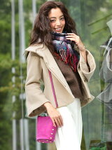 ≪大きいサイズ≫アンゴラ混スタンドカラーフレア袖ジャケット