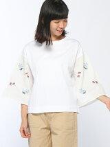 布帛刺繍袖6分袖プルオーバー