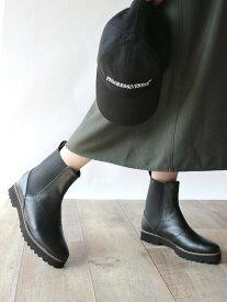Fin 厚底サイドゴアブーツ フィン シューズ ショートブーツ/ブーティー ブラック【送料無料】
