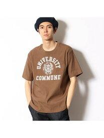COMME CA COMMUNE リネンストレッチカレッジ布帛Tシャツ コムサイズム カットソー Tシャツ ブラウン グリーン【送料無料】