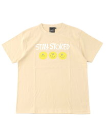 BEAMS T 【SPECIAL PRICE】BEAMS T / STAY STOKED Tee ビームスT カットソー Tシャツ ベージュ ホワイト