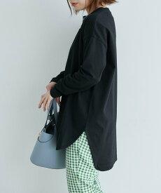 ViS 【WEB限定】シルエットスッキリUSAコットンロングTシャツ ビス カットソー カットソーその他 ピンク ブラック ホワイト カーキ ブルー