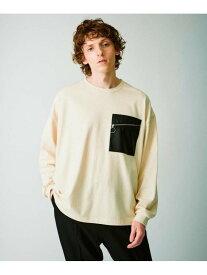 【SALE/45%OFF】tk.TAKEO KIKUCHI シンセティックレザーポケットTシャツ(長袖) ティーケータケオキクチ カットソー Tシャツ ホワイト ブラック ブラウン