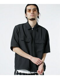 【SALE/70%OFF】nano・universe 変形ハニカムZIPワイドシャツ ナノユニバース シャツ/ブラウス シャツ/ブラウスその他 ブラック ネイビー カーキ