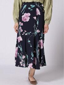 LADYMADE BloomingFlowerアシメセミフレアSK レディメイド スカート フレアスカート ネイビー ベージュ【送料無料】
