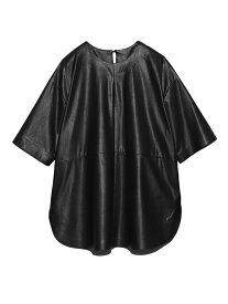 Mila Owen シャツカーブフェイクレザーT/SH ミラオーウェン カットソー Tシャツ ブラック ブラウン カーキ【送料無料】