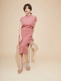 【SALE/60%OFF】Fabulous Angela 釦付変形リブニットスカートセットアップ ファビュラスアンジェラ ビジネス/フォーマル セットアップスーツ ピンク ベージュ ブラウン