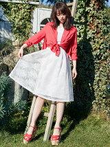 ボンディング刺繍メッシュスカート