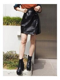 MURUA フェイクエナメルミニスカート ムルーア スカート ミニスカート ブラック ブラウン【送料無料】