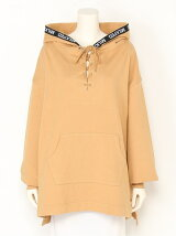 LACE-UP LOGO HOODED TOP