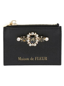 Maison de FLEUR ビジュー合皮カードケース メゾン ド フルール バッグ トートバッグ ブラック ピンク ブルー
