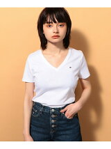(W)ベーシックVネックTシャツ