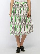 hokuo print フォーク柄ブラッシング加工スカート F