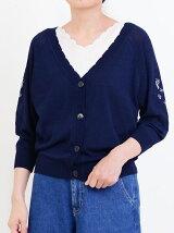 袖フラワー刺繍カーディガン