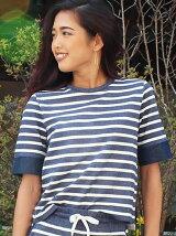(W)ボーダーTシャツ