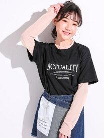 【SALE/10%OFF】ZIDDY チュールインナー + ロゴ Tシャツ レイヤード 2点セット(130~160cm) ベベ オンライン ストア カットソー Tシャツ ブラック ホワイト