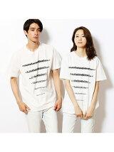 ロゴボーダープリントスリットTシャツ