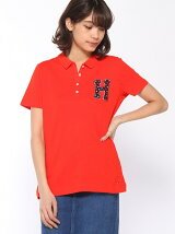(W)フローラルロゴポロシャツ