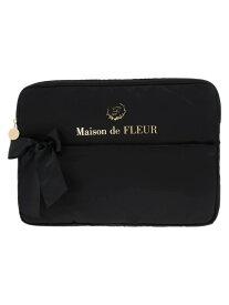 Maison de FLEUR サテンリボンPCケースL メゾン ド フルール バッグ トートバッグ ブラック ピンク【送料無料】