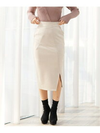 LIP SERVICE アシメスリットスエードSK リップサービス スカート スカートその他 ホワイト ブラック ベージュ【送料無料】