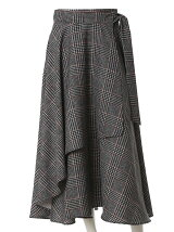 【秋の新作】《INED》サイドリボンチェック柄ラップスカート