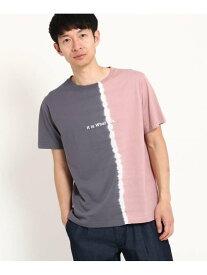 【SALE/40%OFF】THE SHOP TK 縦切替タイダイTシャツ ザ ショップ ティーケー カットソー Tシャツ ピンク ブルー ネイビー