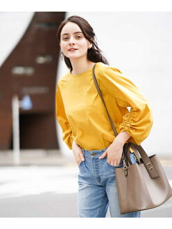 OFUON gathered flare style sleeve pullover off on shirt / blouse shirt / blouse and others yellow purple beige