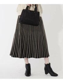 【SALE/20%OFF】grove 【S-LL】配色ラインタックニットスカート グローブ スカート ロングスカート ブラック イエロー ブラウン パープル