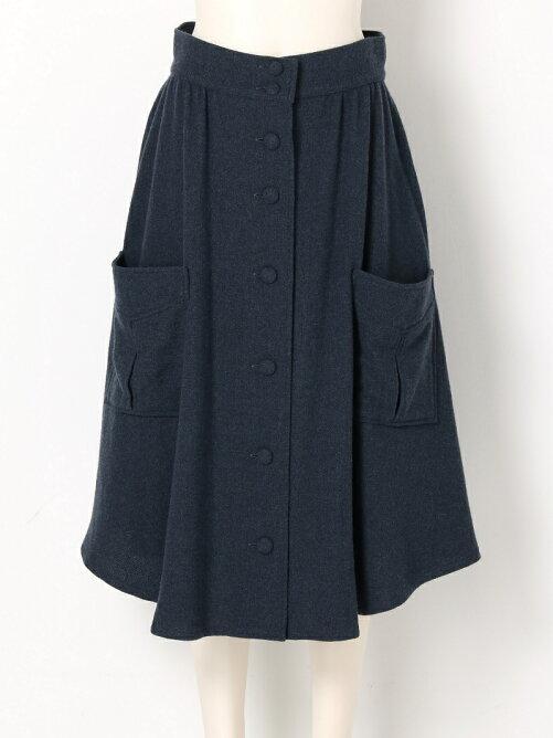 ボタン&ポケットウールスカート