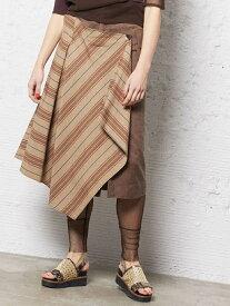 【SALE/60%OFF】AULA AILA ストライプ レイヤード スカート アウラアイラ スカート【RBA_S】【RBA_E】【送料無料】