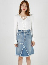 BLOCK DENIM SKIRT