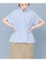WEB限定 ノーカラーペプラムシャツ
