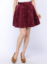 小花刺繍ベロアベルト付きスカート