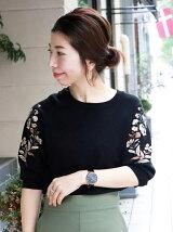袖刺繍ニットプルオーバー