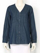 Lugnoncure/ポケット付きノーカラーシャツ