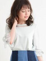 ☆袖異素材リボン付プルオーバー