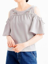 ☆フラワー刺繍肩開きプルオーバー