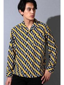【SALE/50%OFF】TORNADO MART BLUETORNADO∴バイアス幾何学柄オープンカラー長袖シャツ トルネードマート シャツ/ブラウス 長袖シャツ イエロー グリーン