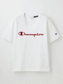【SALE/20%OFF】GUILD PRIME 【Champion】WOMEN別注VネックエンブロイダリーTシャツ ラブレス カットソー Tシャツ ホワイト グレー ブラック ネイビー【送料無料】