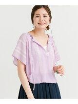 楊柳刺繍半袖ブラウス