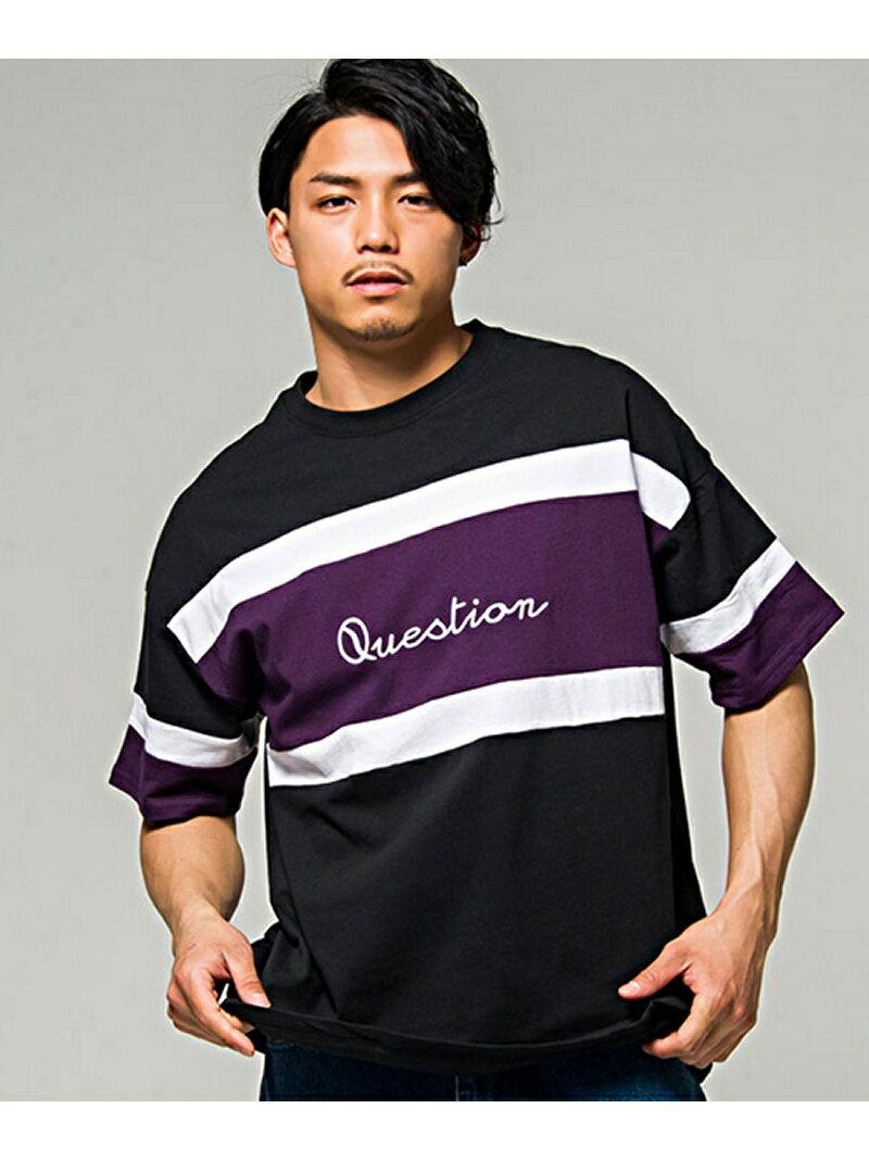 CavariA CavariA切替配色ビッグシルエットクルーネック半袖Tシャツ シルバーバレット カットソー