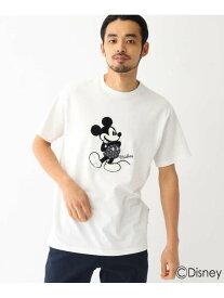 【SALE/30%OFF】BASECONTROL DISNEY ディズニー ミッキーマウス/サガラ刺繍 半袖 Tシャツ ベース ステーション カットソー Tシャツ ホワイト ブラック