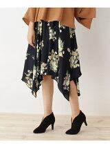 花柄イレギュラーヘムミディ丈スカート