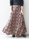 SHIPS WOMEN 《追加予約》【別注】UHURU オリジナルプリントスカート◆ シップス スカート ロングスカート ブラック …