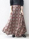 SHIPS WOMEN 【別注】UHURU オリジナルプリントスカート◇ シップス スカート ロングスカート ブラック ブラウン グリ…