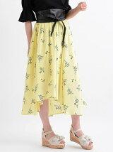 *サッシュベルト付花柄スカート