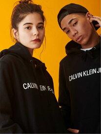 Calvin Klein Jeans CALVIN KLEIN 【カルバン クライン ジーンズ】 メンズ レディース ロゴ パーカー フーディ スウェット カジュアル AD-OP HD PLVR J313753 カルバン・クライン カットソー パーカー ブラック グレー【送料無料】