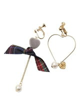 HEART&RIBBON CLIP ON EARRINGS