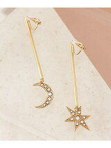 MOON and STAR stick earring