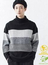 BROWNY/(M)メランジボーダータートルセーター